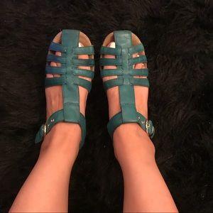 Jeffrey Campbell blue woven strap sandals Sz 7.5